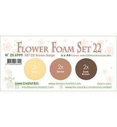 Leane Creatief Flower Foam -softislevy kukkien tekoon, setti 22, brown / beige