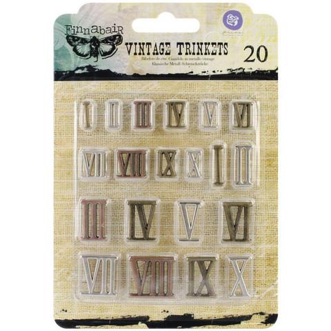 Finnabair Vintage Trinkets -metallikoristeet Mini Roman Numerals
