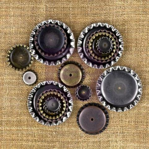 Finnabair Mechanicals -metallikoristeet Bottle Caps Assorted Sizes