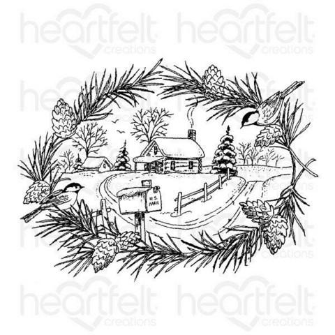 Heartfelt Creations Snowy Pine Cabin -leimasin