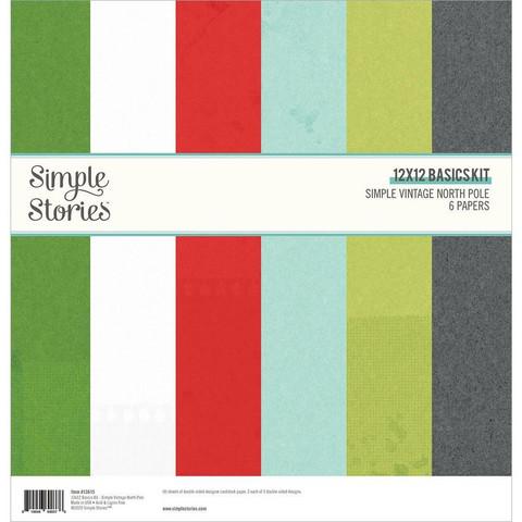 Simple Stories Simple Vintage North Pole, Basics -paperipakkaus, 12