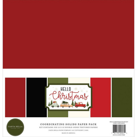 Carta Bella Hello Christmas, Solids -paperipakkaus, 12