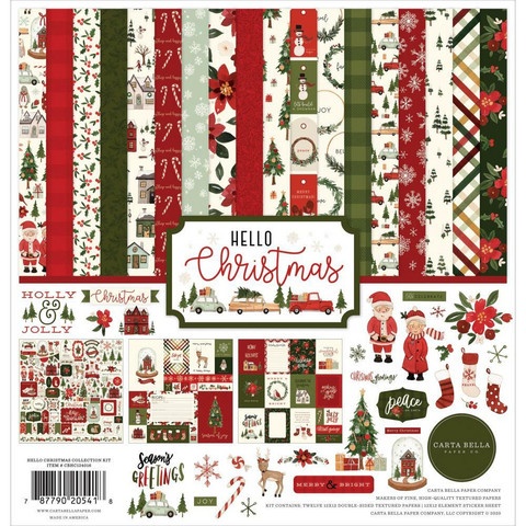 Carta Bella Hello Christmas -paperipakkaus, 12