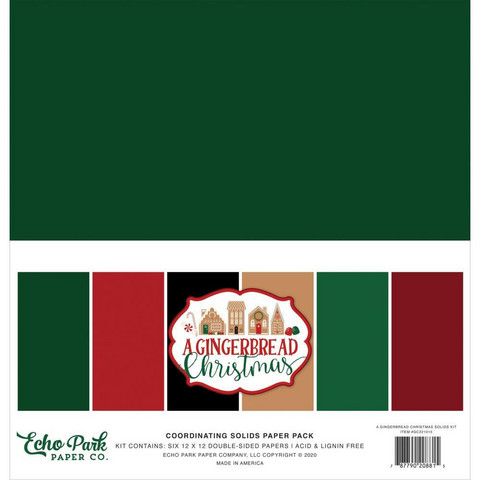 Echo Park A Gingerbread Christmas, Solids -paperipakkaus, 12