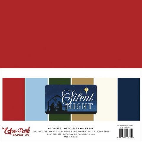 Echo Park Silent Night, Solids -paperipakkaus, 12