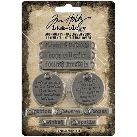 Tim Holtz Idea-Ology Metal Adornments -koristeet, Halloween Words