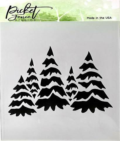 Picket Fence sapluuna Field of Snowy Trees