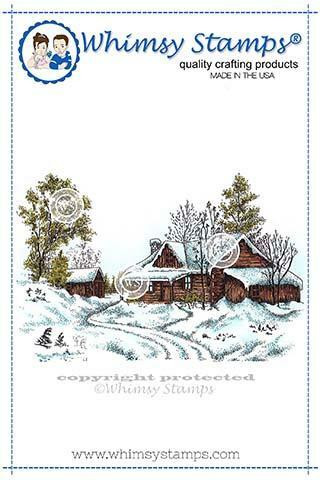 Whimsy Stamps Wintry Cabin -leimasin
