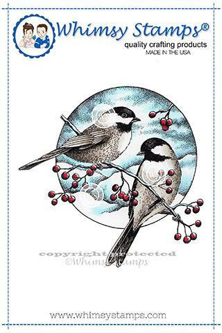 Whimsy Stamps Chickadee and Berries -leimasin