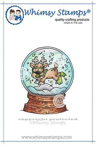 Whimsy Stamps Scuba Deer -leimasin