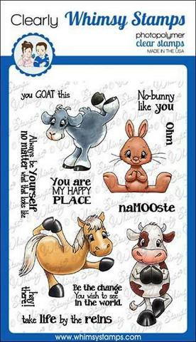 Whimsy Stamps Yoga Animals -leimasinsetti
