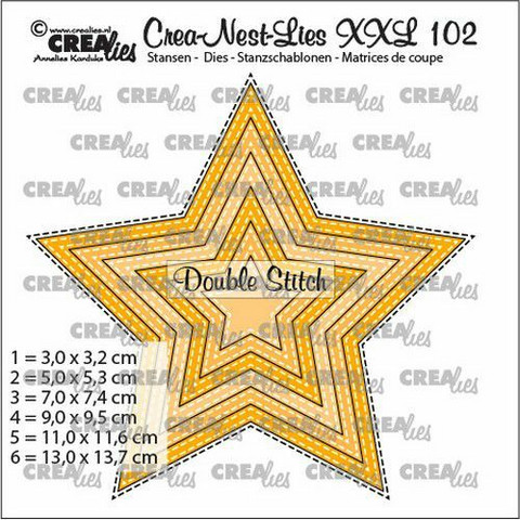 Crealies XXL102 -stanssisetti Star with Double Stitch Lines