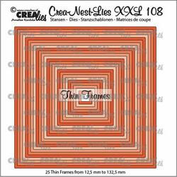 Crealies XXL108 -stanssisetti Thin Frames, Squares