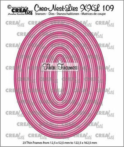 Crealies XXL109 -stanssisetti Thin Frames, Ovals