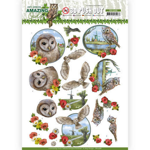 Amy Design Amazing Owls 3D-kuvat Meadow Owls
