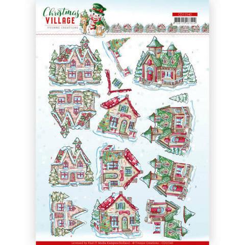 Yvonne Creations Christmas Village 3D-kuvat Christmas Houses, leikattava