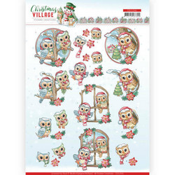 Yvonne Creations Christmas Village 3D-kuvat Christmas Owls, leikattava