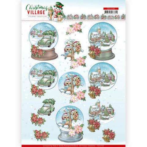 Yvonne Creations Christmas Village 3D-kuvat Christmas Globes, leikattava