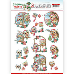 Yvonne Creations Christmas Village 3D-kuvat Christmas Owls