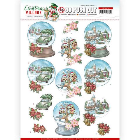 Yvonne Creations Christmas Village 3D-kuvat Christmas Globes
