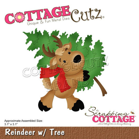 CottageCutz stanssi Reindeer With Tree