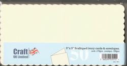 CraftUK korttipohjat ja kirjekuoret, scalloped (piparireuna), kerma, 5
