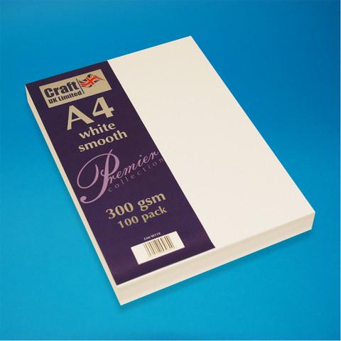 CraftUK kartonki, valkoinen, 300 g, 100 arkkia