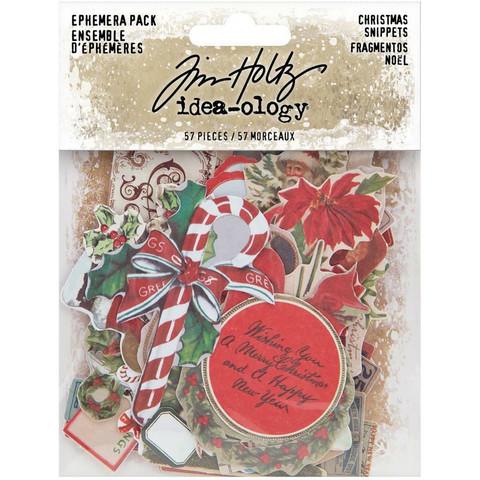 Tim Holtz Idea-Ology Ephemera Snippets Christmas -korttikuvat, 57 kpl
