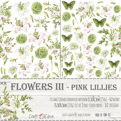 Craft O'clock paperipakkaus Flowers III, Pink Lilies, Extras To Cut