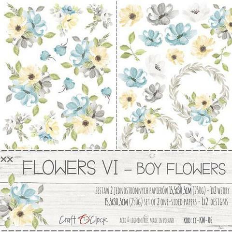 Craft O'clock paperipakkaus Flowers VI, Boy Flowers, Extras To Cut