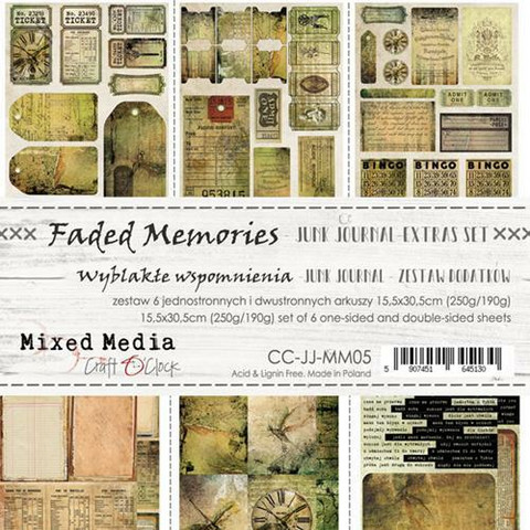 Craft O'clock paperipakkaus Faded Memories Junk Journal Extras