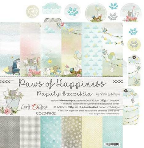 Craft O'clock paperipakkaus Paws of Happiness, 12