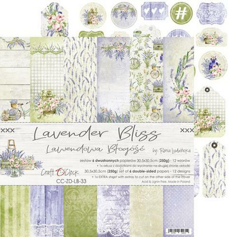 Craft O'clock paperipakkaus Lavender Bliss, 12