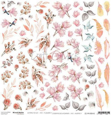 Craft O'clock skräppipaperi Mixed Media Extras To Cut Flowers 4