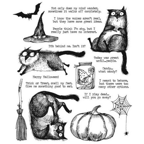 Stampers Anonymous, Tim Holtz leimasinsetti Snarky Cat Halloween