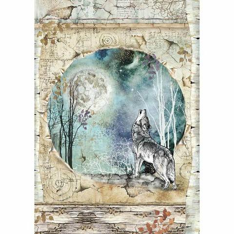 Stamperia riisipaperi Cosmos Wolf & Moon