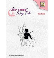 Nellie's Choice Fairy Tale leimasin Elf Sitting on Flower