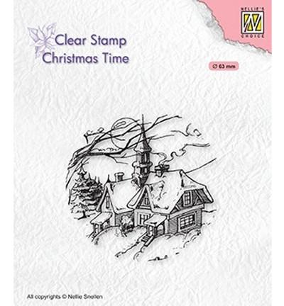 Nellie's Choice leimasin Snowy Christmas Scene