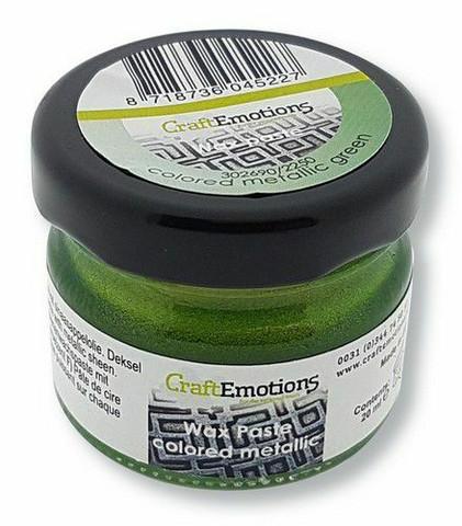 CraftEmotions Wax Paste Colored Metallic -vaha, sävy Green