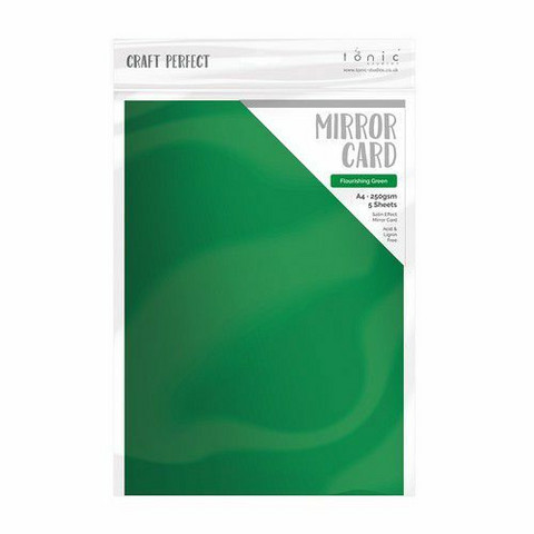 Tonic Satin Effect Mirror Card -peilikartonki, sävy Flourishing Green, 5 arkkia