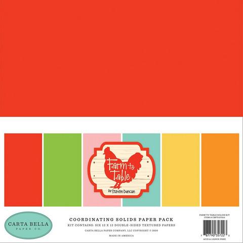 Carta Bella Farm To Table, Solids -paperipakkaus, 12