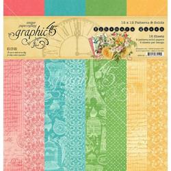 Graphic 45 -paperipakkaus Ephemera Queen, Patterns & Solids 12