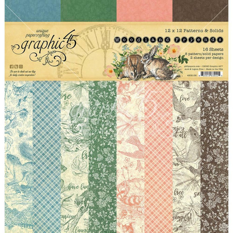 Graphic 45 -paperipakkaus Woodland Friends, Patterns & Solids 12