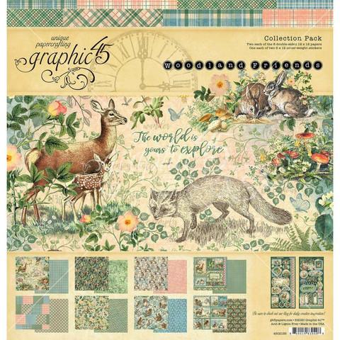 Graphic 45 -paperipakkaus Woodland Friends, 12