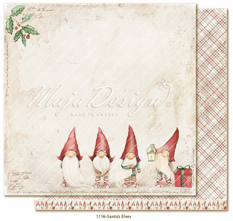 Maja Design Traditional Christmas skräppipaperi Santa´s Elves