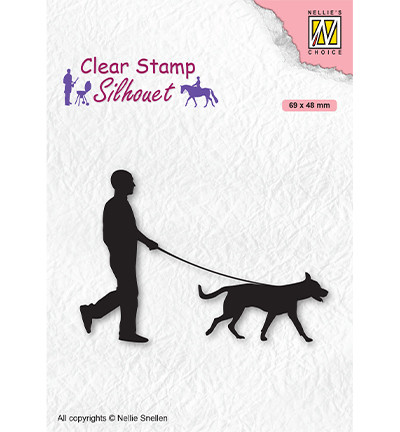 Nellie's Choice leimasin Silhouette Man with Dog