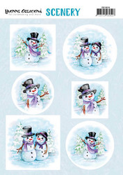 Yvonne Creations korttikuvat Happy Snowmen