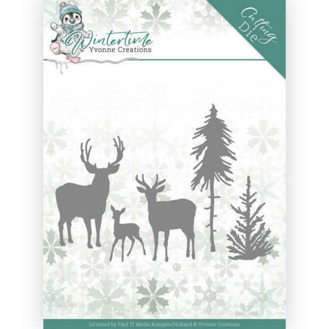 Yvonne Creations Wintertime stanssisetti Deer in the Forest