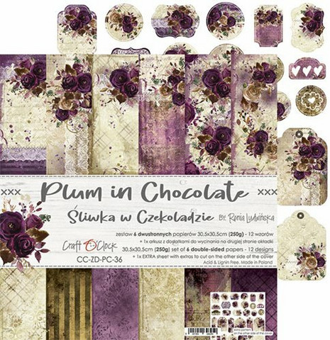 Craft O'clock paperipakkaus Plum In Chocolate, 12