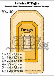 Crealies Labelzz and tagzz rough edges -stanssisetti 19